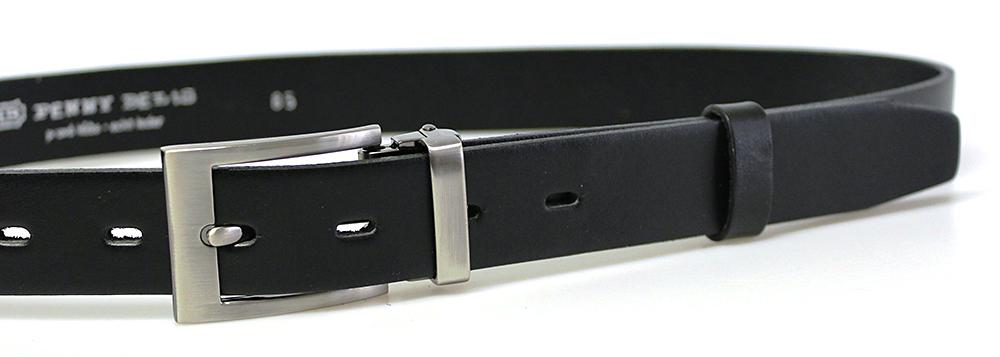 Pánský kožený společenský opasek s klasickou sponou 30-100-3-60 černý 944ac65304